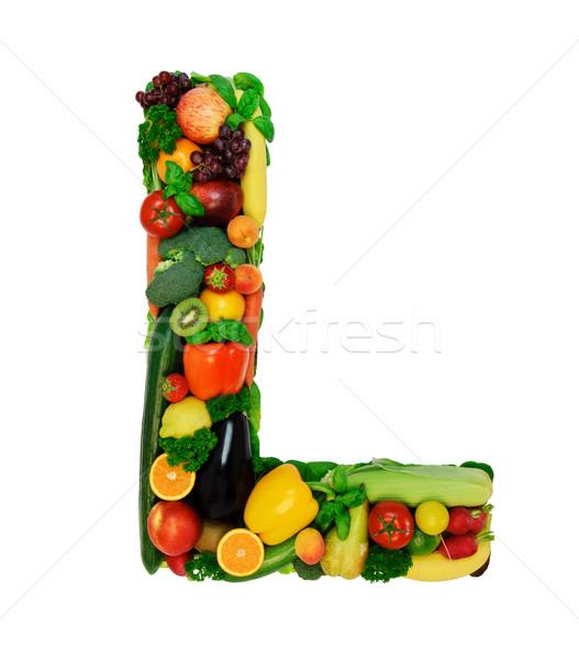 Saine alphabet lettre légumes frais fruits isolé Photo stock © Johny87