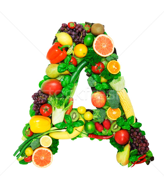 Foto stock: Saudável · alfabeto · carta · legumes · frescos · frutas · isolado