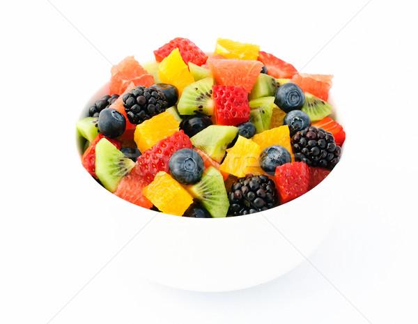 Vers fruit salade witte kom voedsel Stockfoto © Johny87