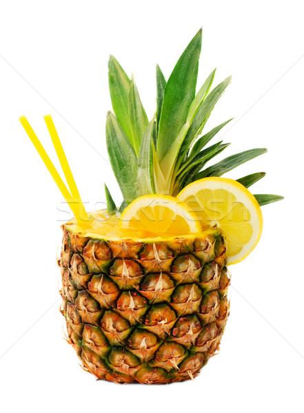 Ananas bere gustoso isolato bianco frutta Foto d'archivio © Johny87