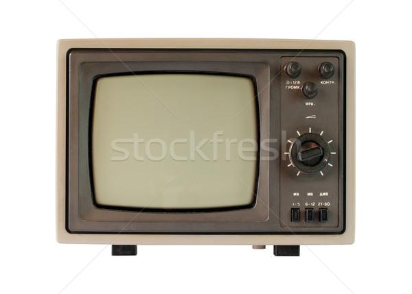 Vieux tv blanc noir écran isolé blanche Photo stock © Johny87