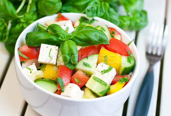 Fraîches salade aliments sains légumes frais fromages main Photo stock © Johny87