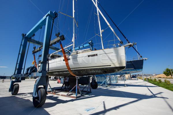 Veleiro secar doca guindaste Croácia porto Foto stock © Johny87