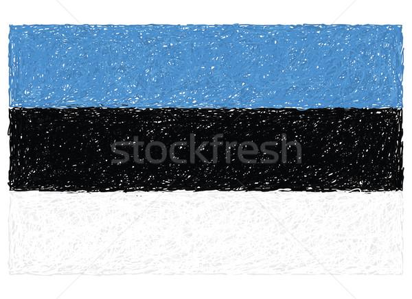 Bandera Estonia dibujado a mano ilustración blanco Europa Foto stock © jomaplaon