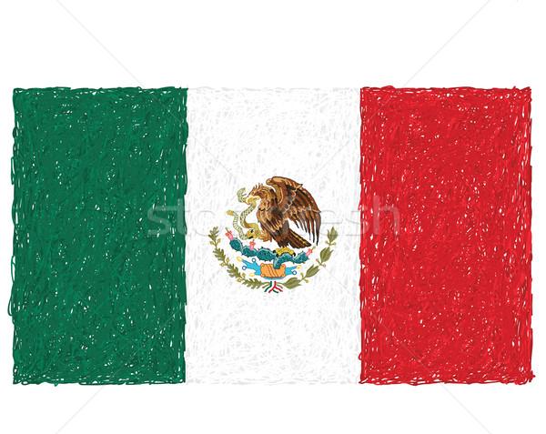 Bandera México dibujado a mano ilustración fondo signo Foto stock © jomaplaon