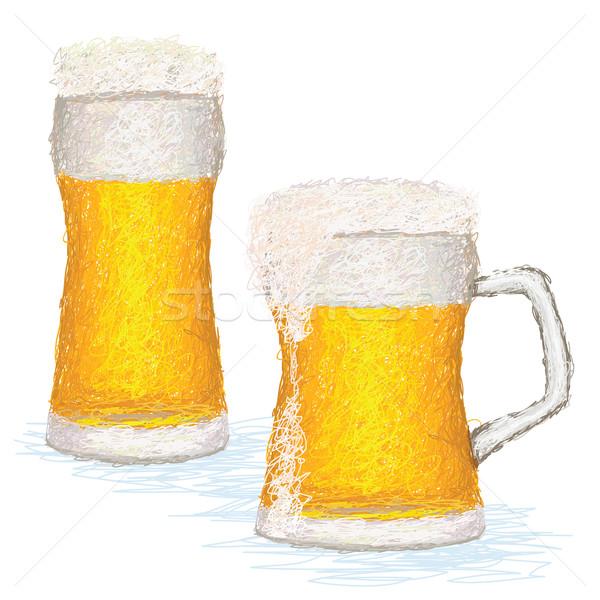 Foto stock: Primer · plano · ilustración · gafas · frío · cerveza · espacio · de · la · copia
