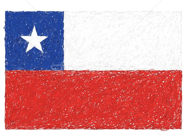 Bandera Chile dibujado a mano ilustración signo rojo Foto stock © jomaplaon