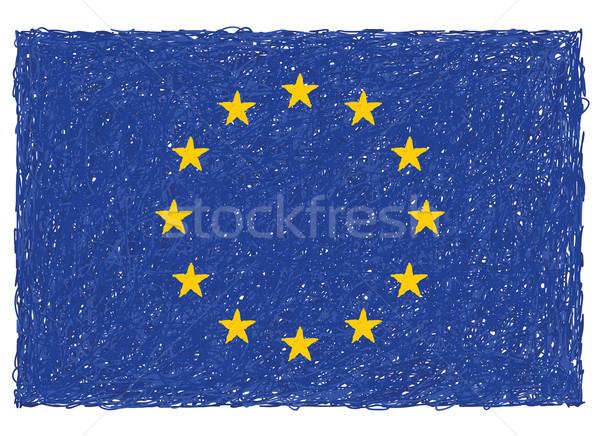 Foto stock: Bandera · Europa · dibujado · a · mano · ilustración · europeo · Unión