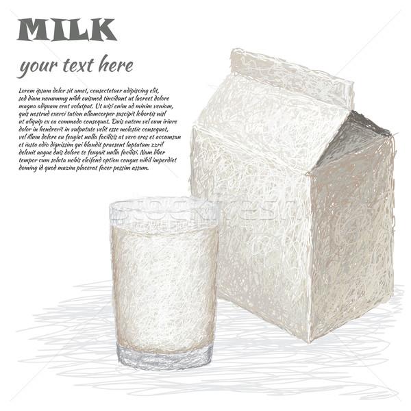 glass of milk and milk box Stock photo © jomaplaon