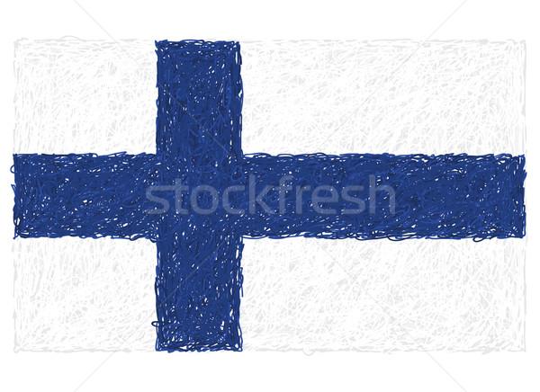 Foto stock: Bandera · Finlandia · dibujado · a · mano · ilustración · cruz · signo