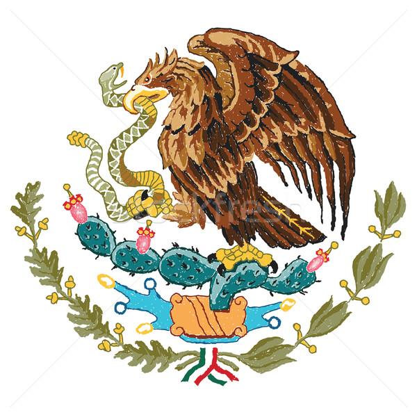 México abrigo armas dibujado a mano ilustración signo Foto stock © jomaplaon
