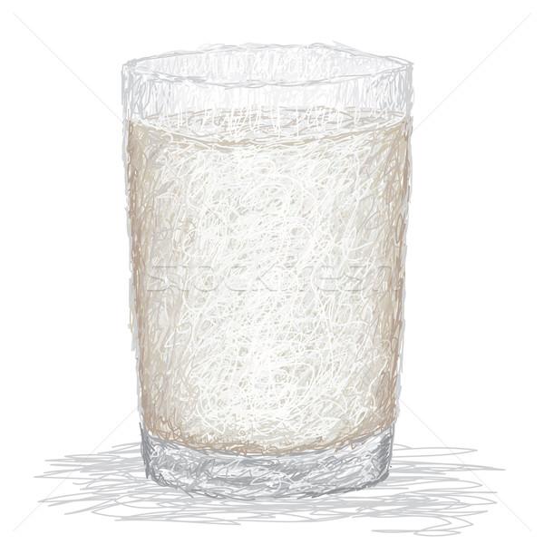 Foto d'archivio: Latte · primo · piano · illustrazione · fresche · vetro · isolato