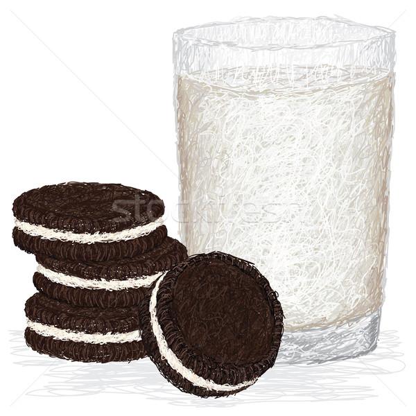 Süt kurabiye örnek taze cam Stok fotoğraf © jomaplaon