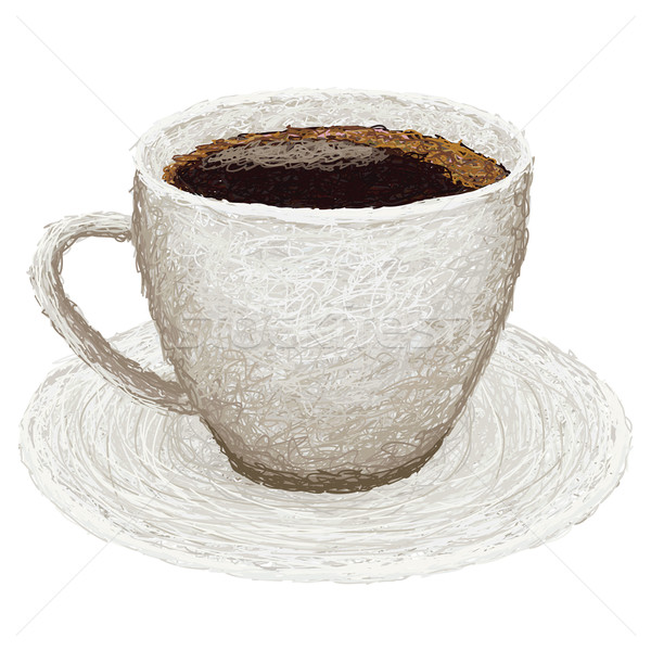 Foto stock: Café · primer · plano · ilustración · caliente · placa · fondo