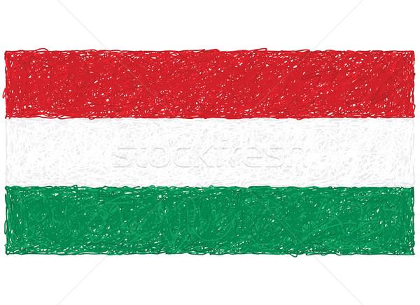 Bandera Hungría dibujado a mano ilustración fondo verde Foto stock © jomaplaon