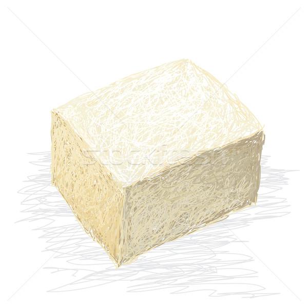 Foto stock: Tofu · primer · plano · ilustración · frescos · cubo · aislado