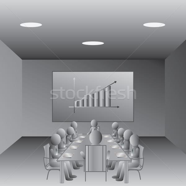 Foto stock: Reunión · de · negocios · ilustración · gente · de · negocios · reunión · sala · de · conferencias · oficina