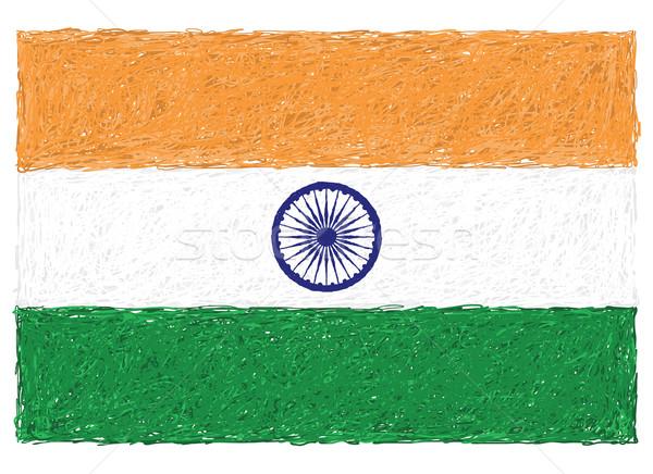 Bandera India dibujado a mano ilustración diseno fondo Foto stock © jomaplaon