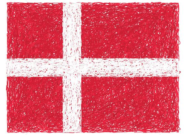 флаг Дания рисованной иллюстрация знак красный Сток-фото © jomaplaon
