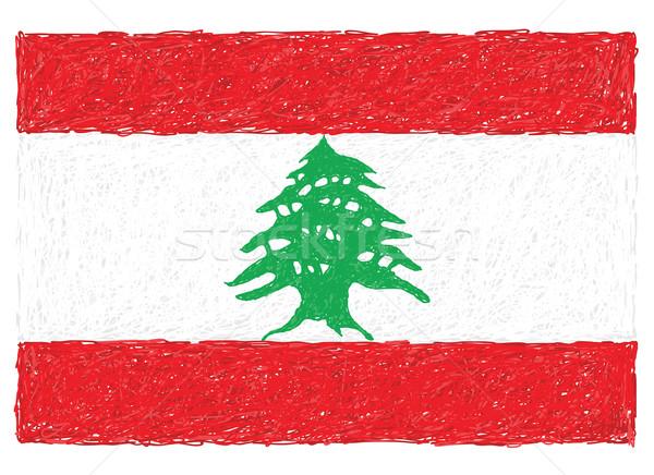 Bandera Líbano dibujado a mano ilustración textura verde Foto stock © jomaplaon