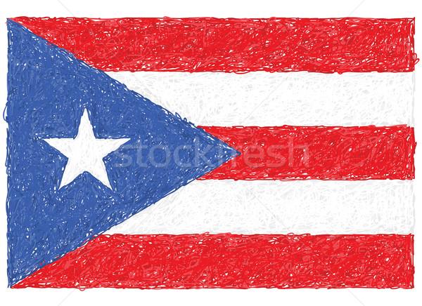 Vlag Puerto Rico illustratie wereld achtergrond Stockfoto © jomaplaon