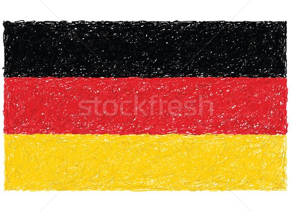 Foto stock: Bandera · Alemania · dibujado · a · mano · ilustración · negro · país