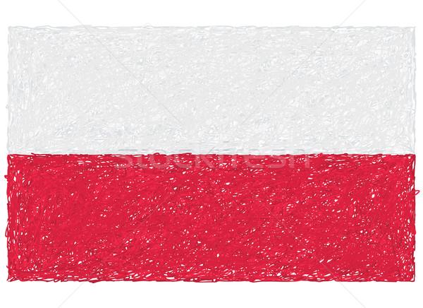 Bandera Polonia dibujado a mano ilustración fondo rojo Foto stock © jomaplaon