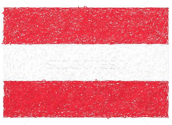 Bandera Austria dibujado a mano ilustración fondo rojo Foto stock © jomaplaon