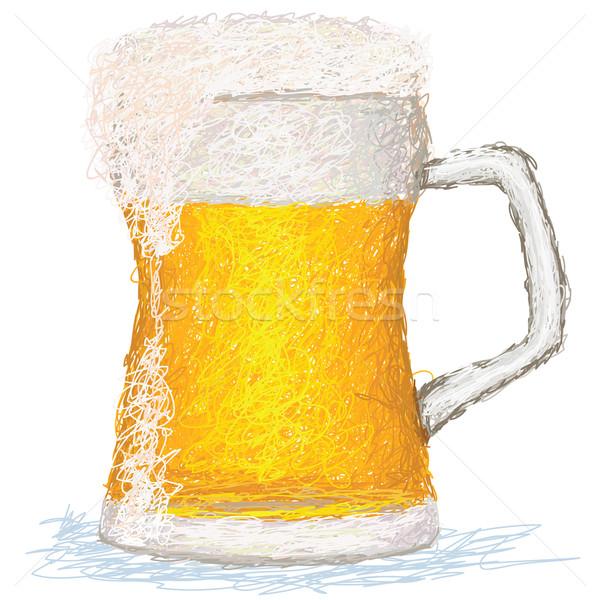 Cerveza primer plano ilustración vidrio frío fondo Foto stock © jomaplaon