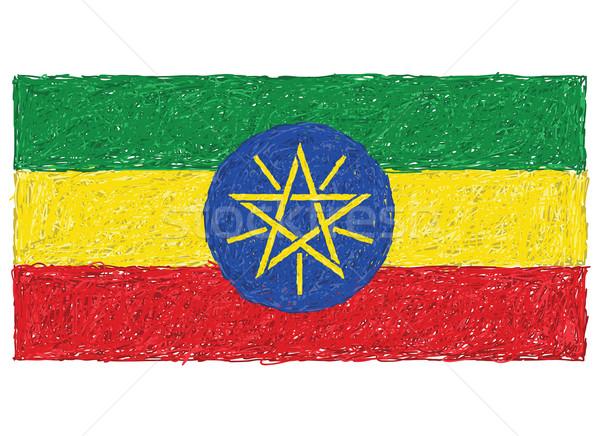 Bayrak Etiyopya örnek yeşil Afrika Stok fotoğraf © jomaplaon