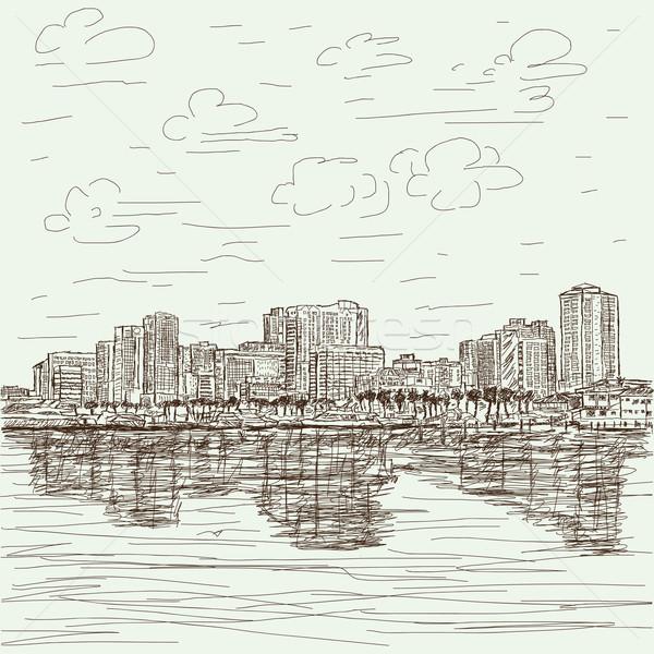 Cityscape illustration Manille Philippines ciel paysage Photo stock © jomaplaon