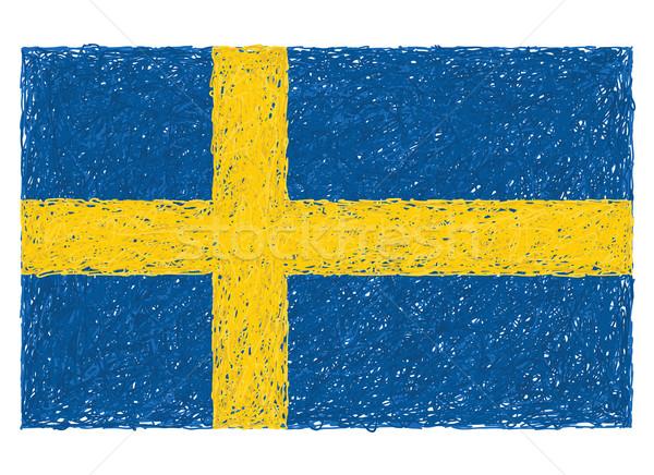 Bandeira Suécia ilustração azul europa Foto stock © jomaplaon