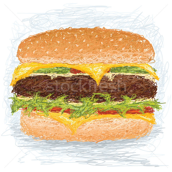 Hamburguesa primer plano ilustración enorme comida pan Foto stock © jomaplaon