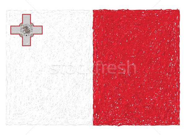 Bandera Malta dibujado a mano ilustración textura rojo Foto stock © jomaplaon