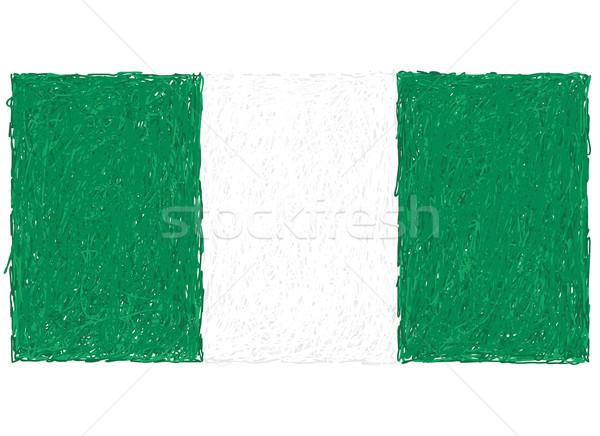 Banderą Nigeria ilustracja tekstury podpisania Zdjęcia stock © jomaplaon