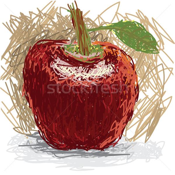 Manzana primer plano ilustración frescos frutas rojo Foto stock © jomaplaon