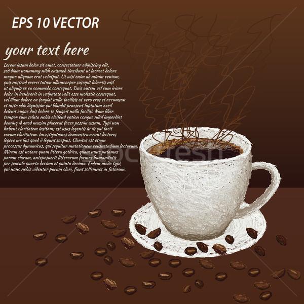 örnek fasulye sıcak fincan kahve Stok fotoğraf © jomaplaon
