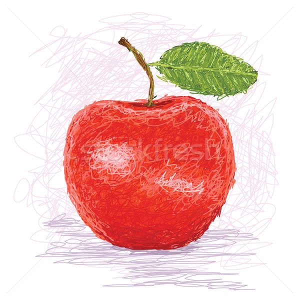 Manzana roja primer plano ilustración frescos frutas manzana Foto stock © jomaplaon