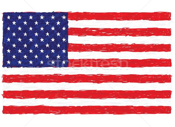 Bandera de Estados Unidos primer plano ilustración bandera Estados Unidos América Foto stock © jomaplaon