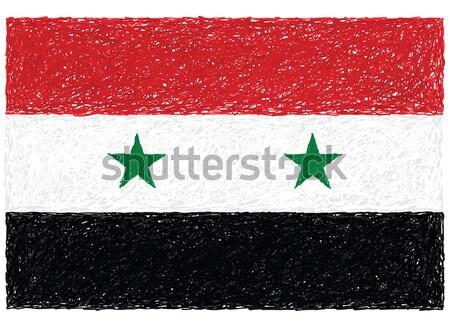 Foto d'archivio: Bandiera · Siria · illustrazione · star · rosso