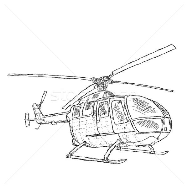 Helicóptero ilustração caneta tecnologia exército Foto stock © jomaplaon