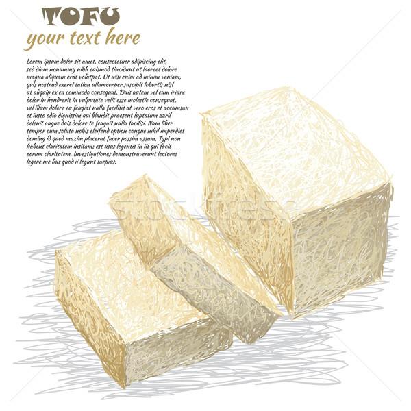 Тофу иллюстрация свежие изолированный Сток-фото © jomaplaon