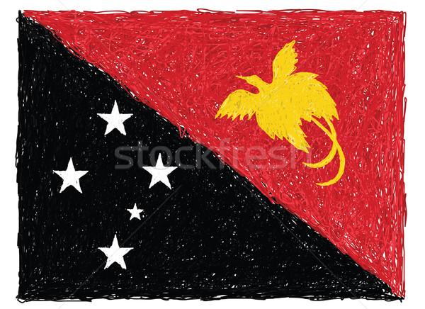 флаг Папуа-Новая Гвинея рисованной иллюстрация текстуры дизайна Сток-фото © jomaplaon
