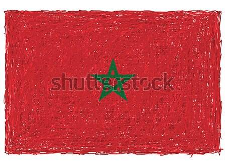 Bandera Marruecos dibujado a mano ilustración signo país Foto stock © jomaplaon