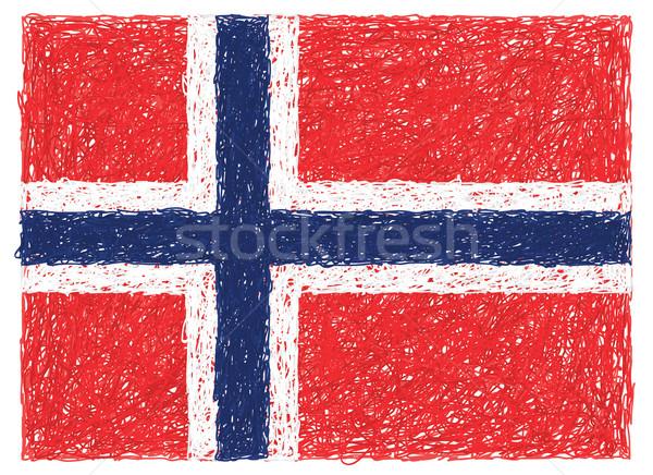 Bandera Noruega dibujado a mano ilustración fondo signo Foto stock © jomaplaon