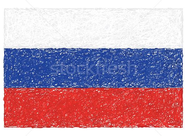 Bandera Rusia dibujado a mano ilustración diseno azul Foto stock © jomaplaon