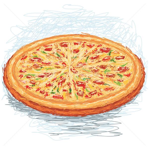 Pizza primer plano ilustración todo Foto stock © jomaplaon