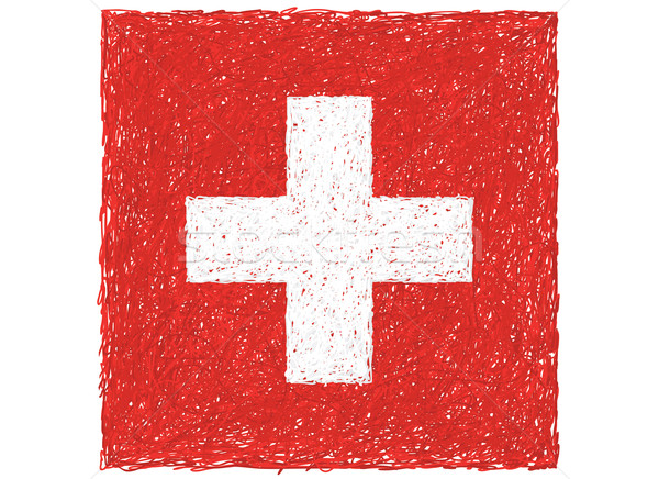 Bandera Suiza dibujado a mano ilustración cruz rojo Foto stock © jomaplaon