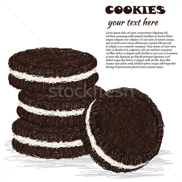 Stockfoto: Cookies · illustratie · chocolade · room