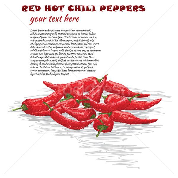 Rojo caliente chile primer plano ilustración grupo Foto stock © jomaplaon